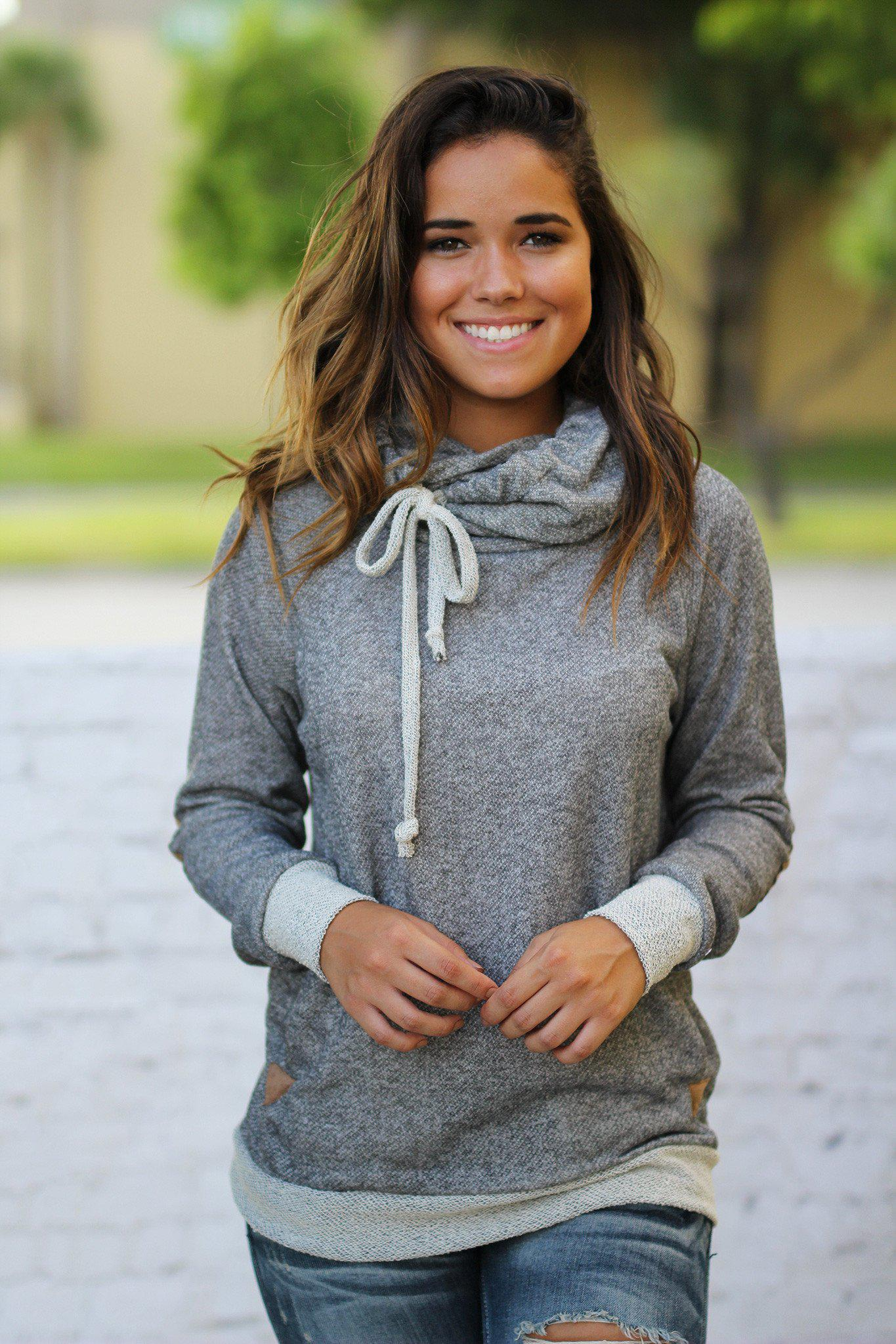Charcoal Hooded Sweater with Elbow Patches