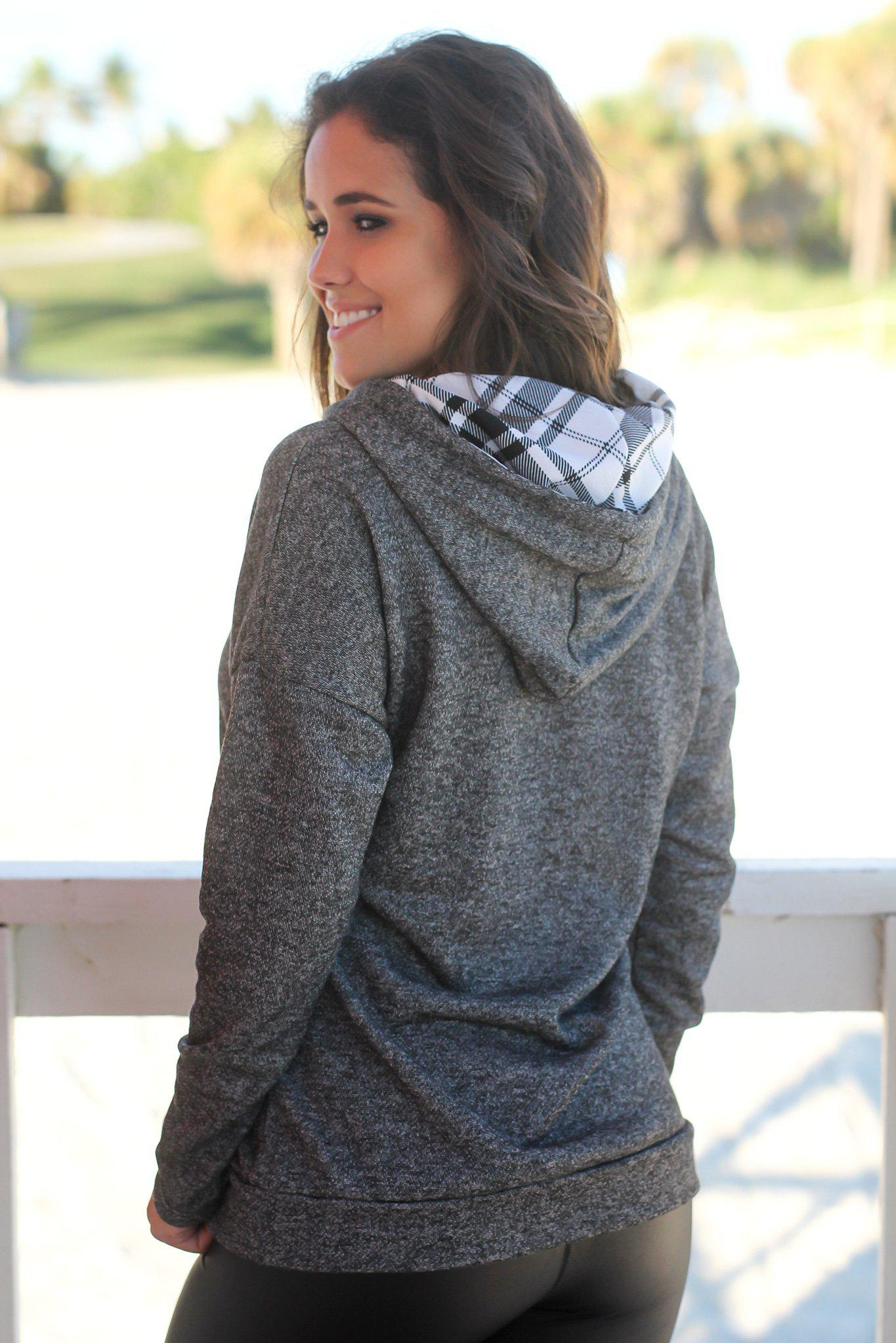 Charcoal Hoodie with Plaid Details