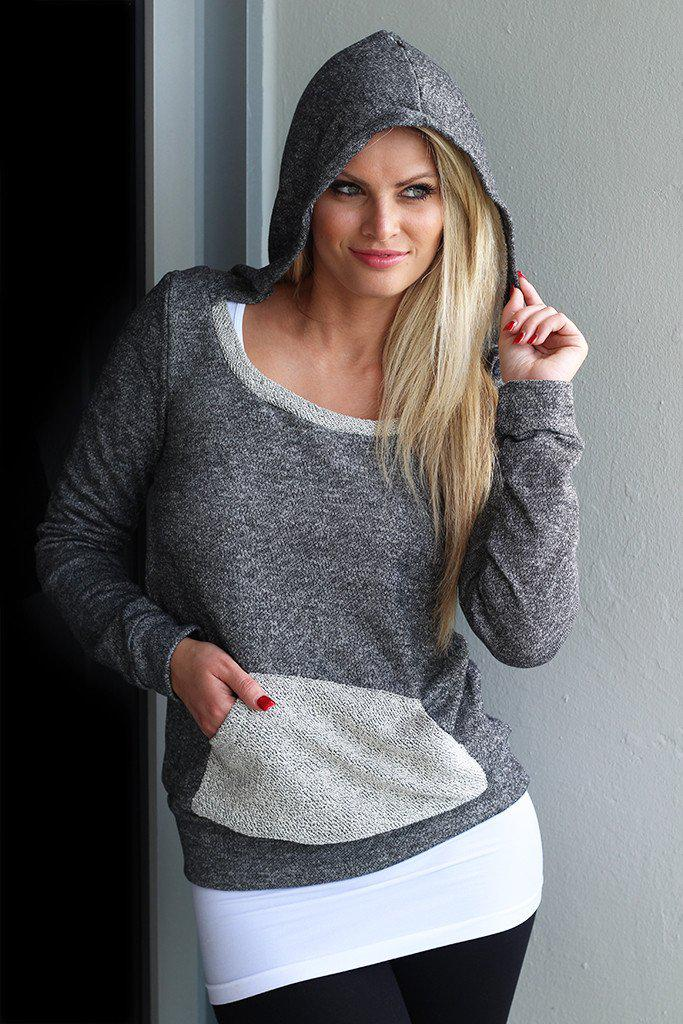 Charcoal Scoop Neck Hoodie with Pocket