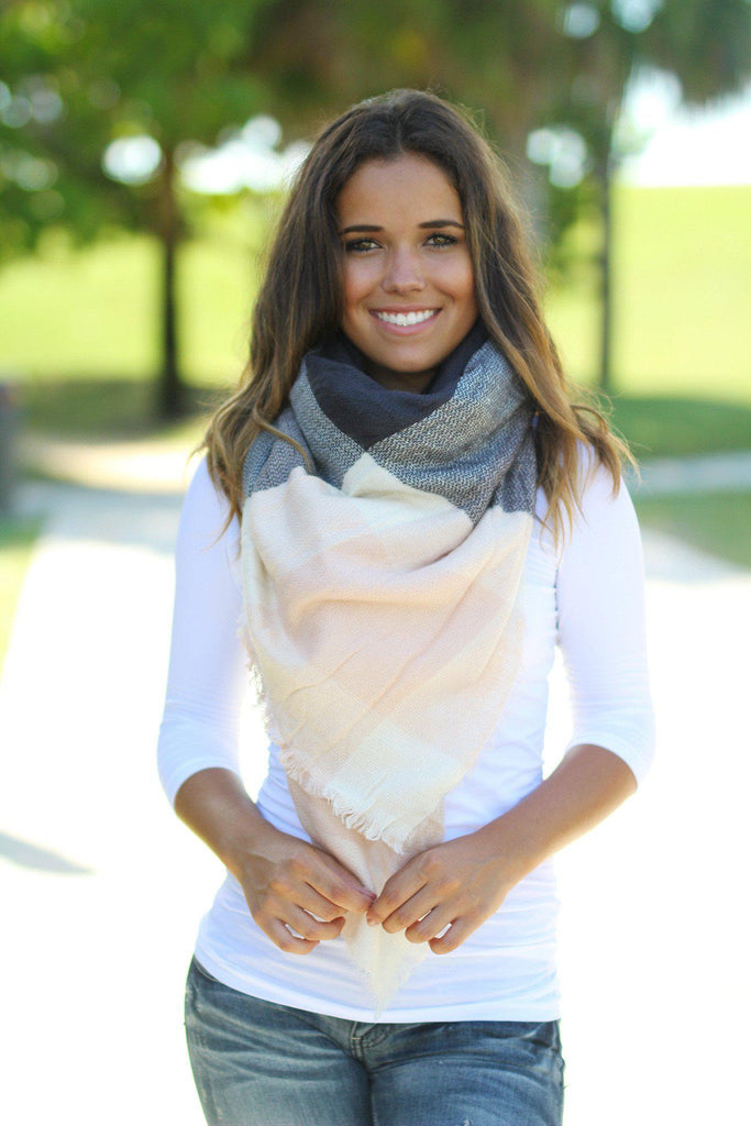 Charcoal and Light Pink Scarf