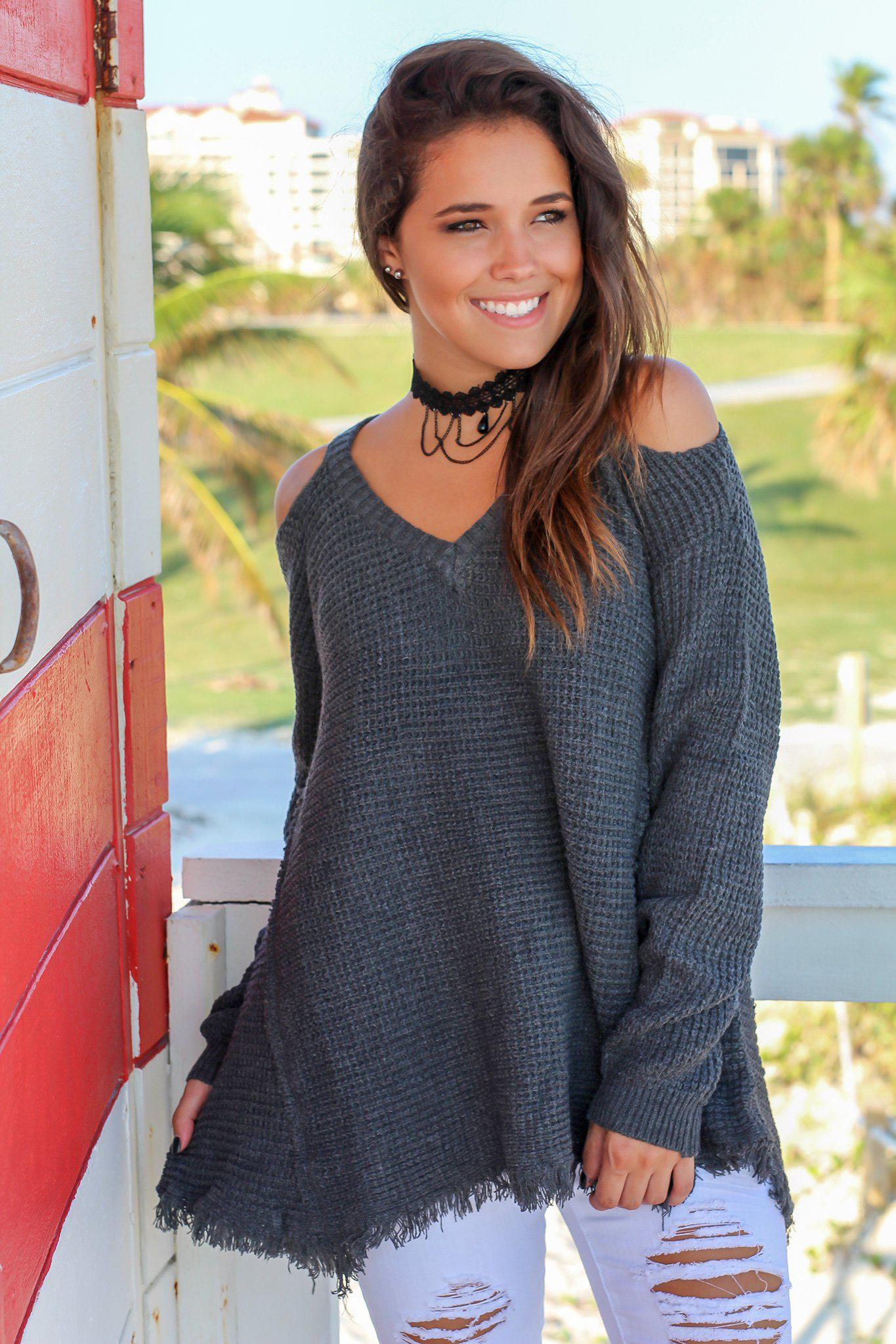 Charcoal Knit Cold Shoulder Sweater