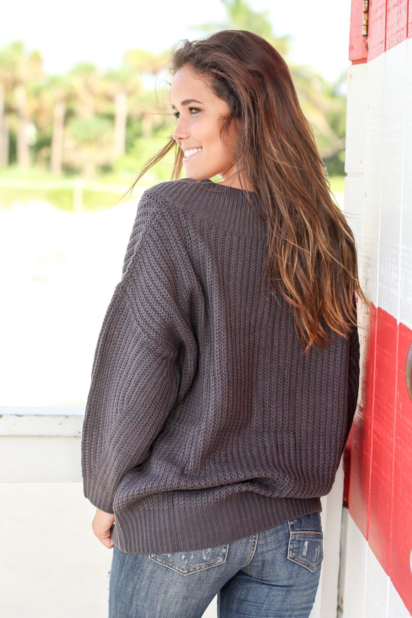 Charcoal Knit Sweater with Long Sleeves