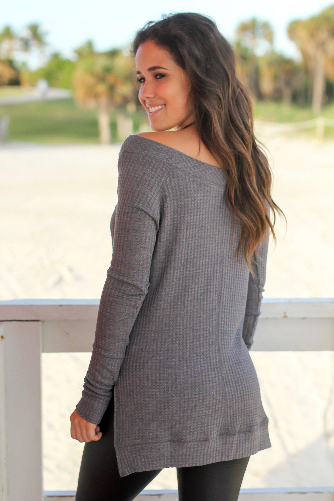 Charcoal Knit Top