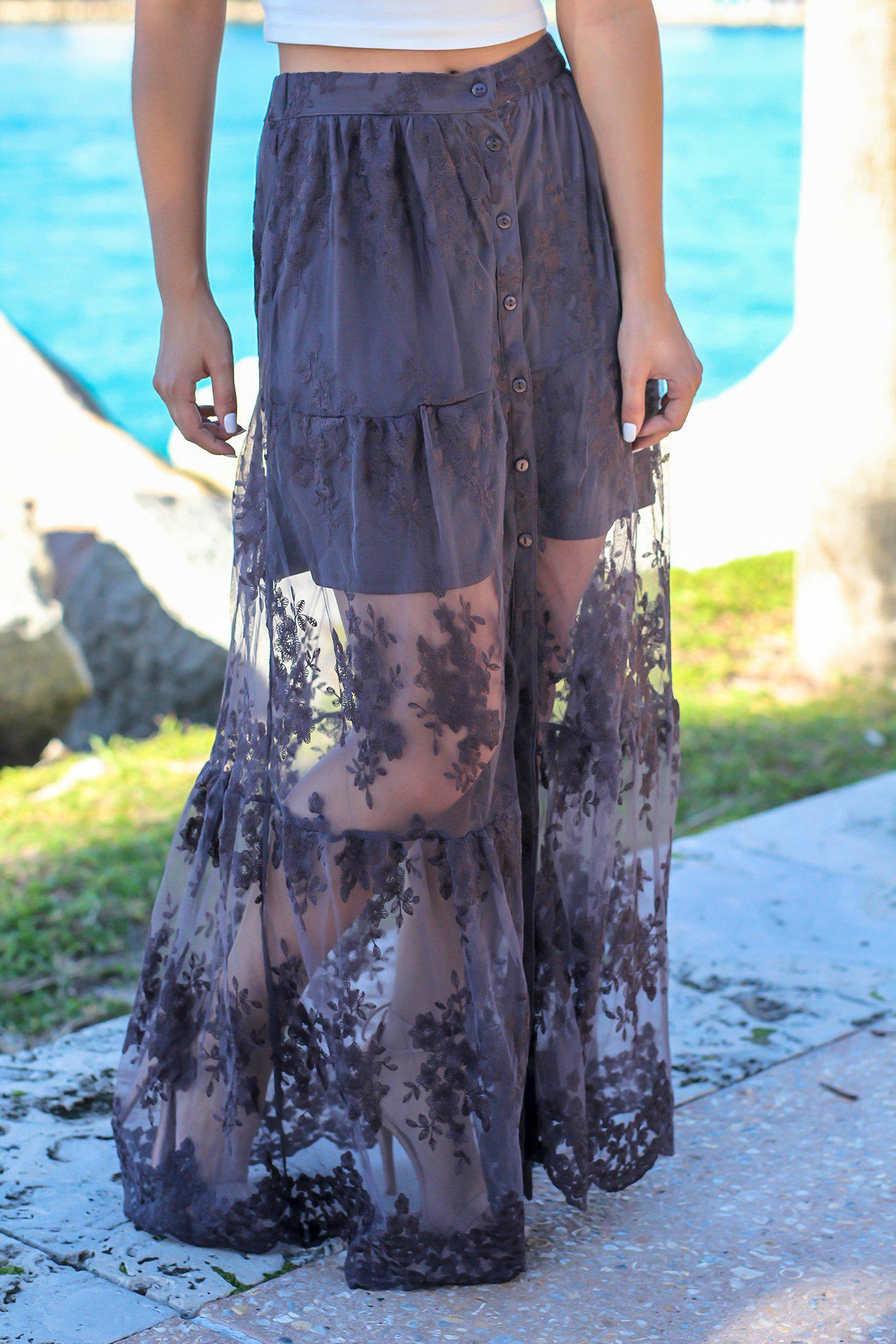 Charcoal Lace Maxi Skirt