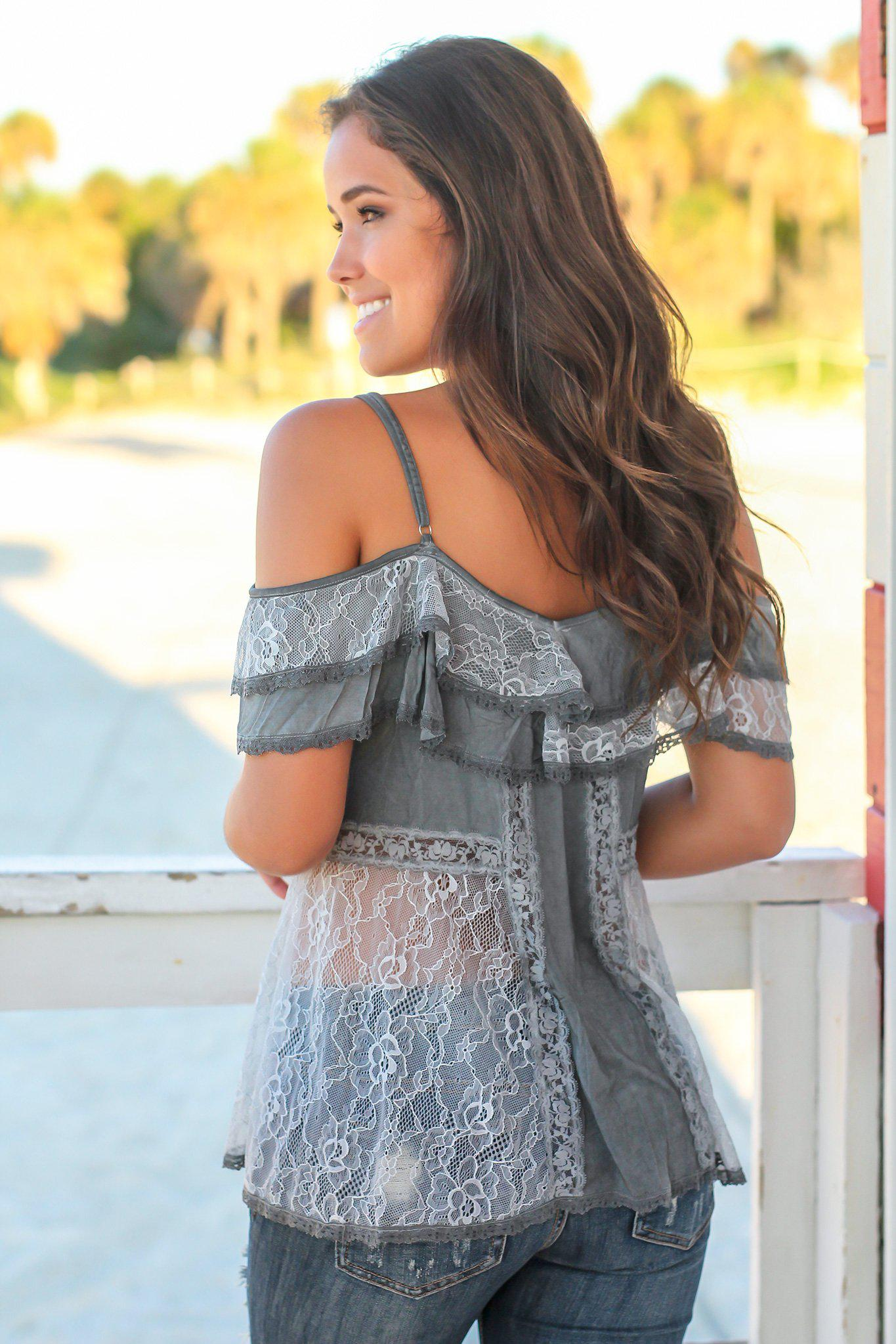 Charcoal Lace Off Shoulder Top