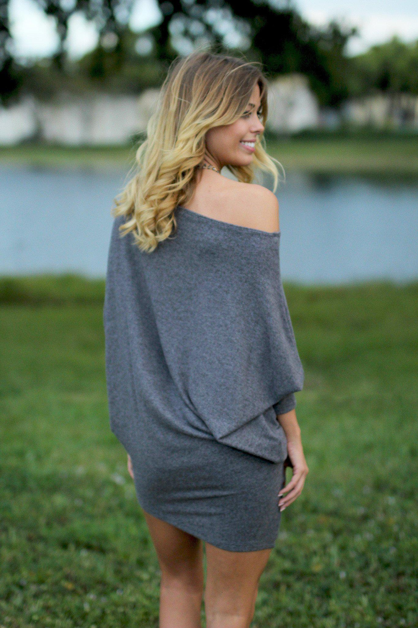 Charcoal Long Sleeve Dress