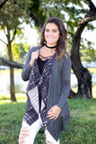 plaid charcoal cardigan