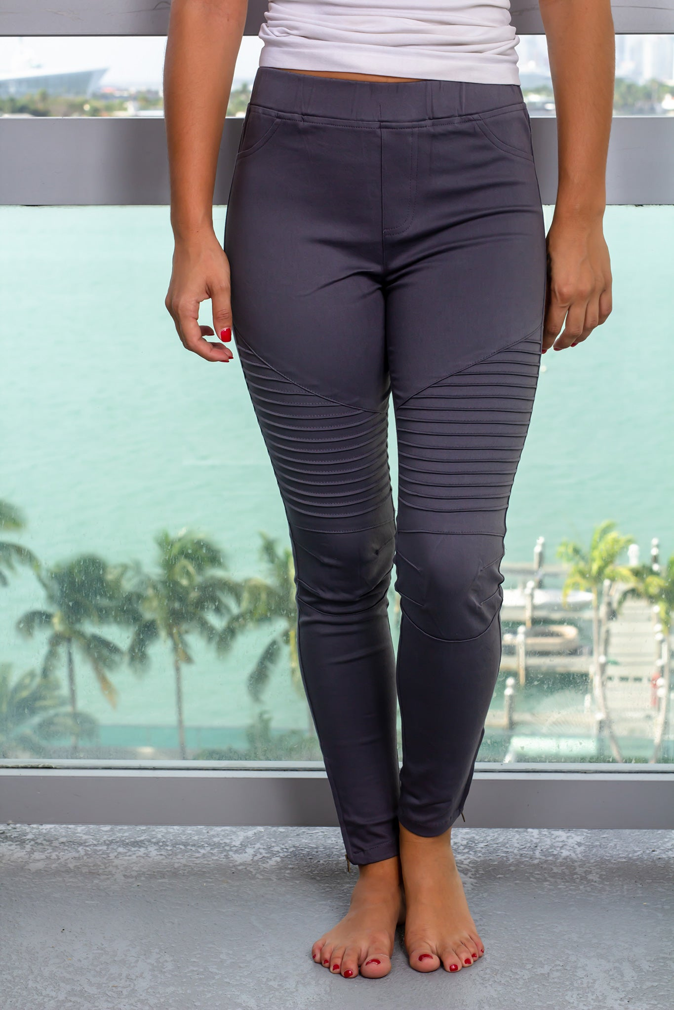Charcoal Moto Jeggings with Ankle Zipper