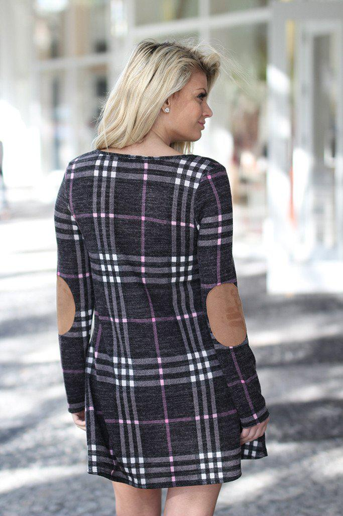 Charcoal Plaid Dress with Elbow Patches