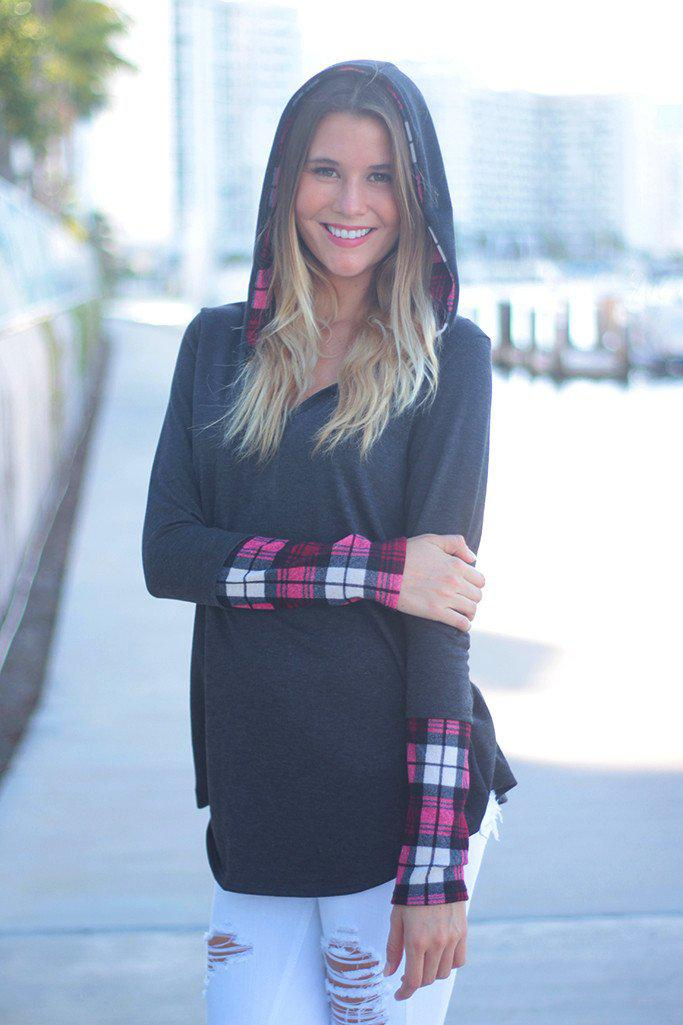 Charcoal and Plaid Printed Hooded Tunic