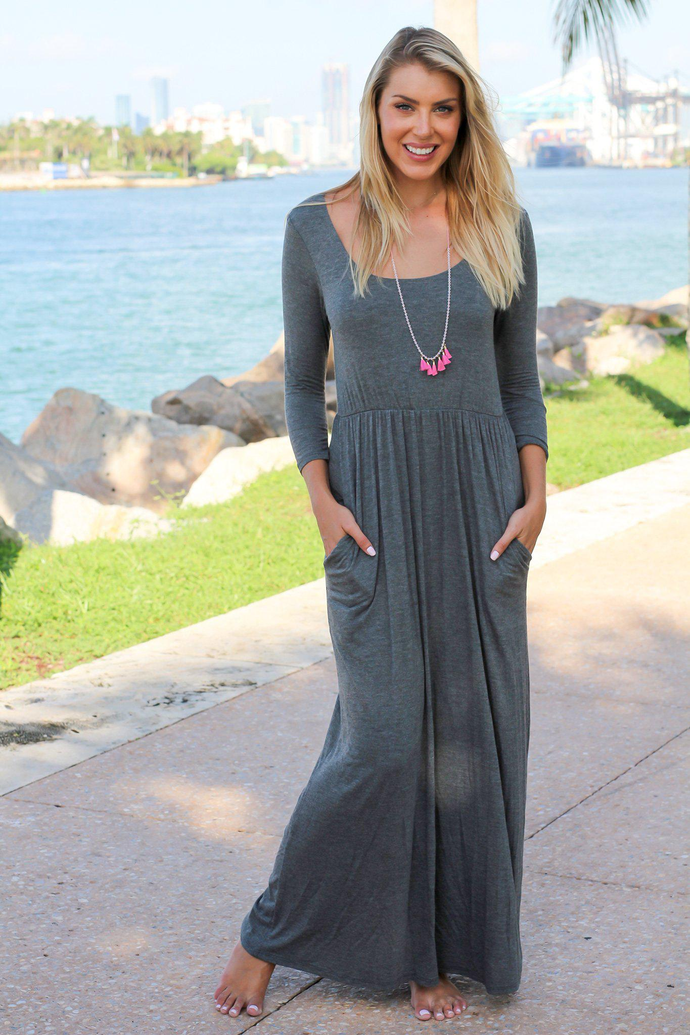 1a229318318 Charcoal Scoop Neck Maxi Dress with 3 4 Sleeves