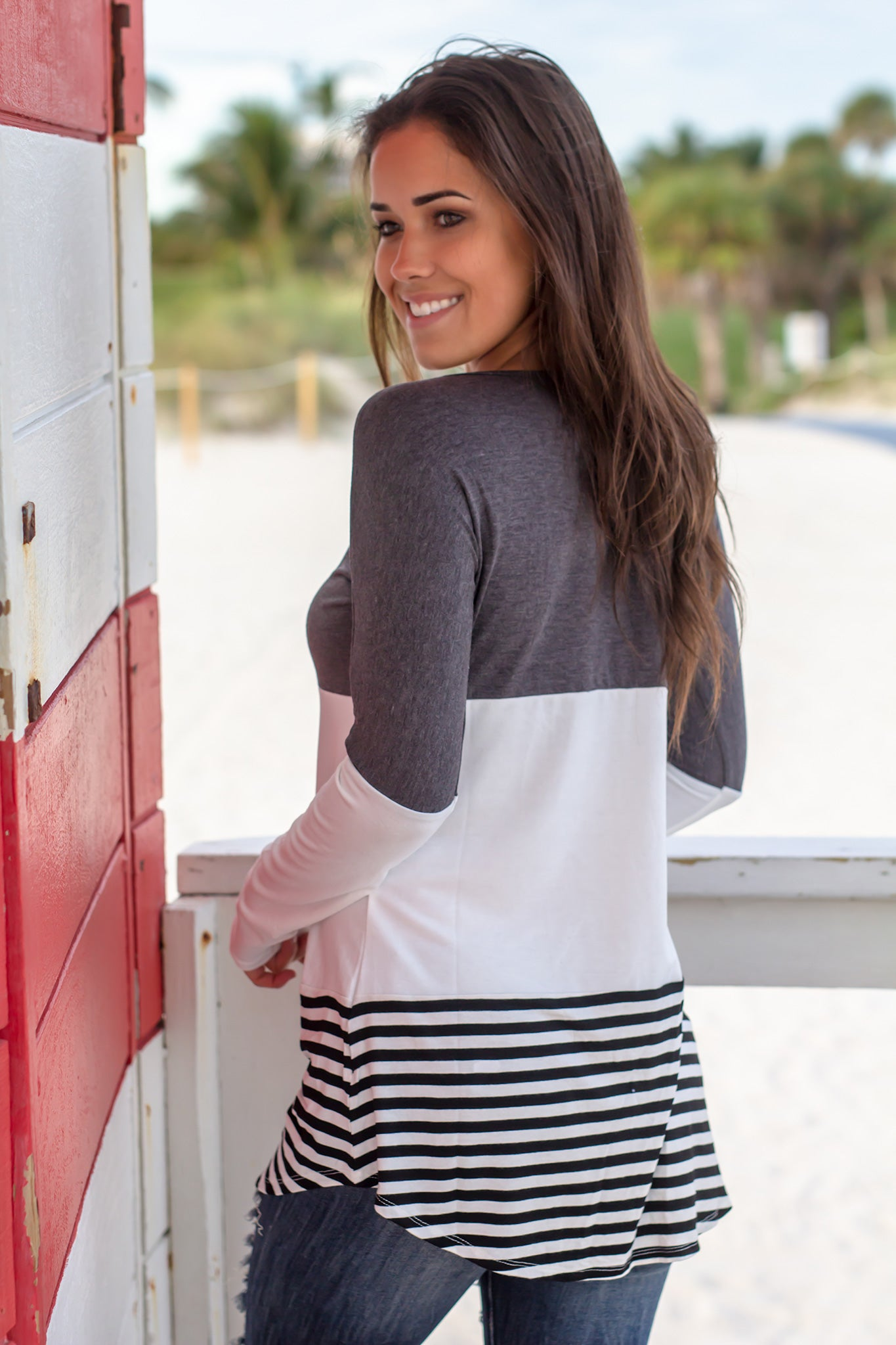 Charcoal Striped Color Block Top
