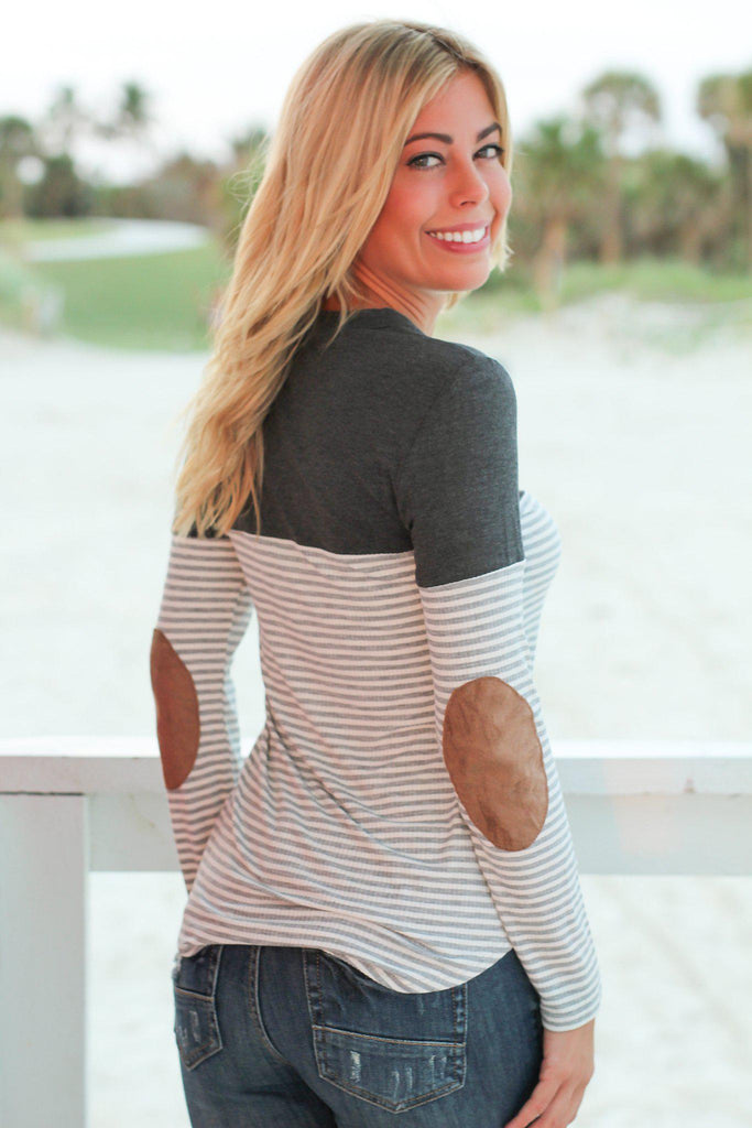 Charcoal Striped Top with Suede Pocket