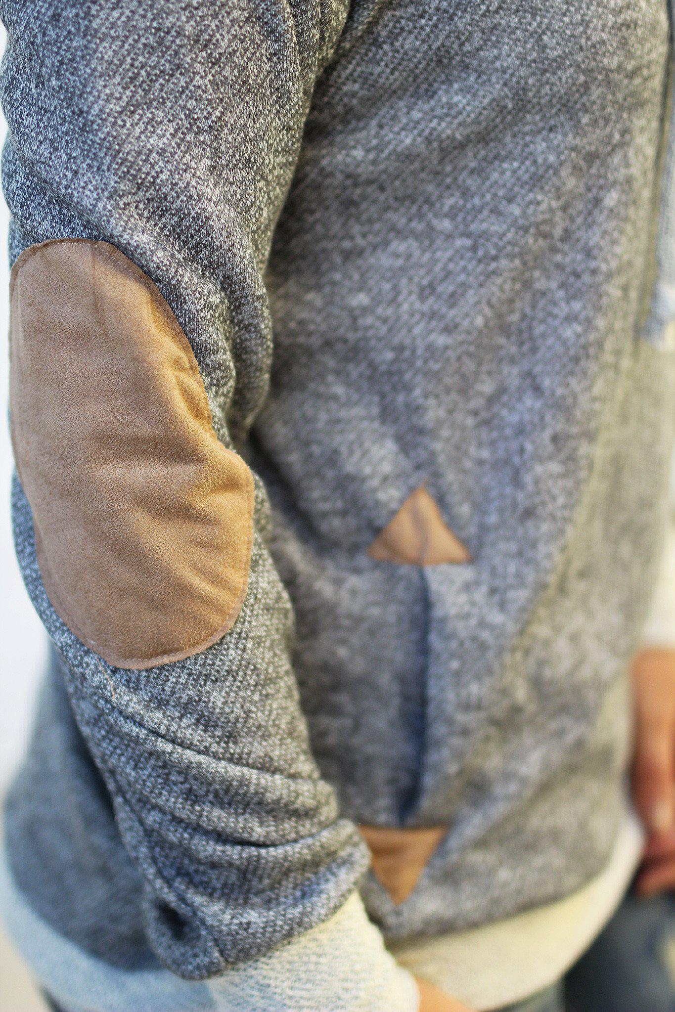 charcoal patched sweater