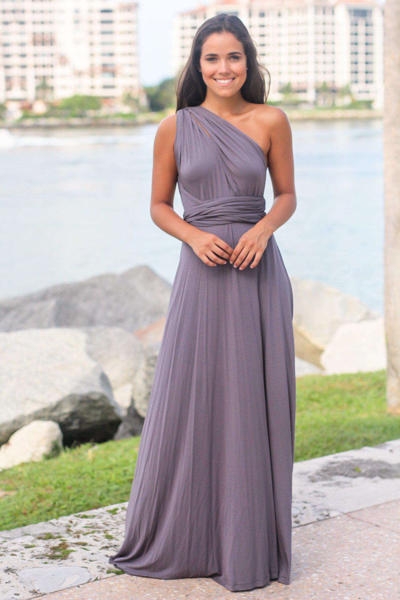 Charcoal Tie Maxi Dress with Open Back