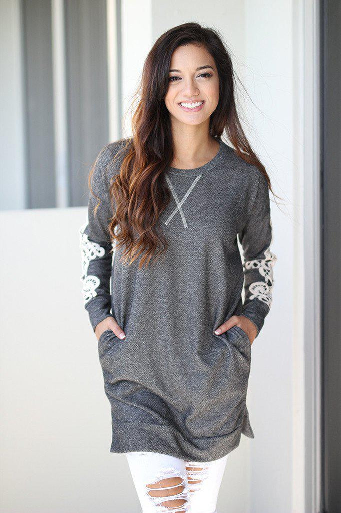 charcoal tunic with crochet sleeves
