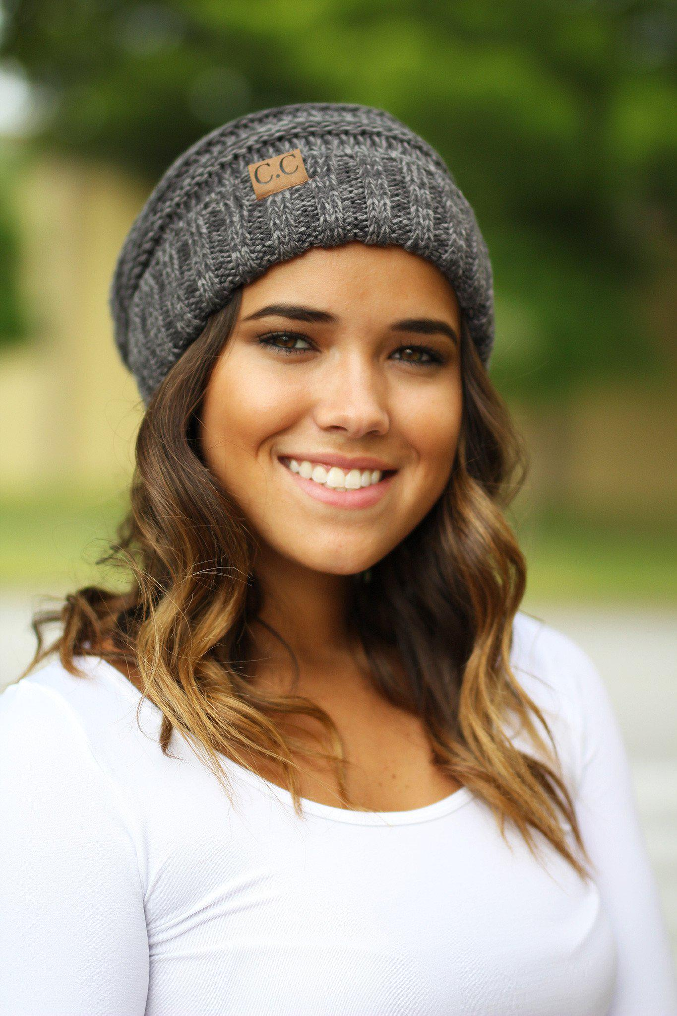 charcoal two toned slouchy beanie