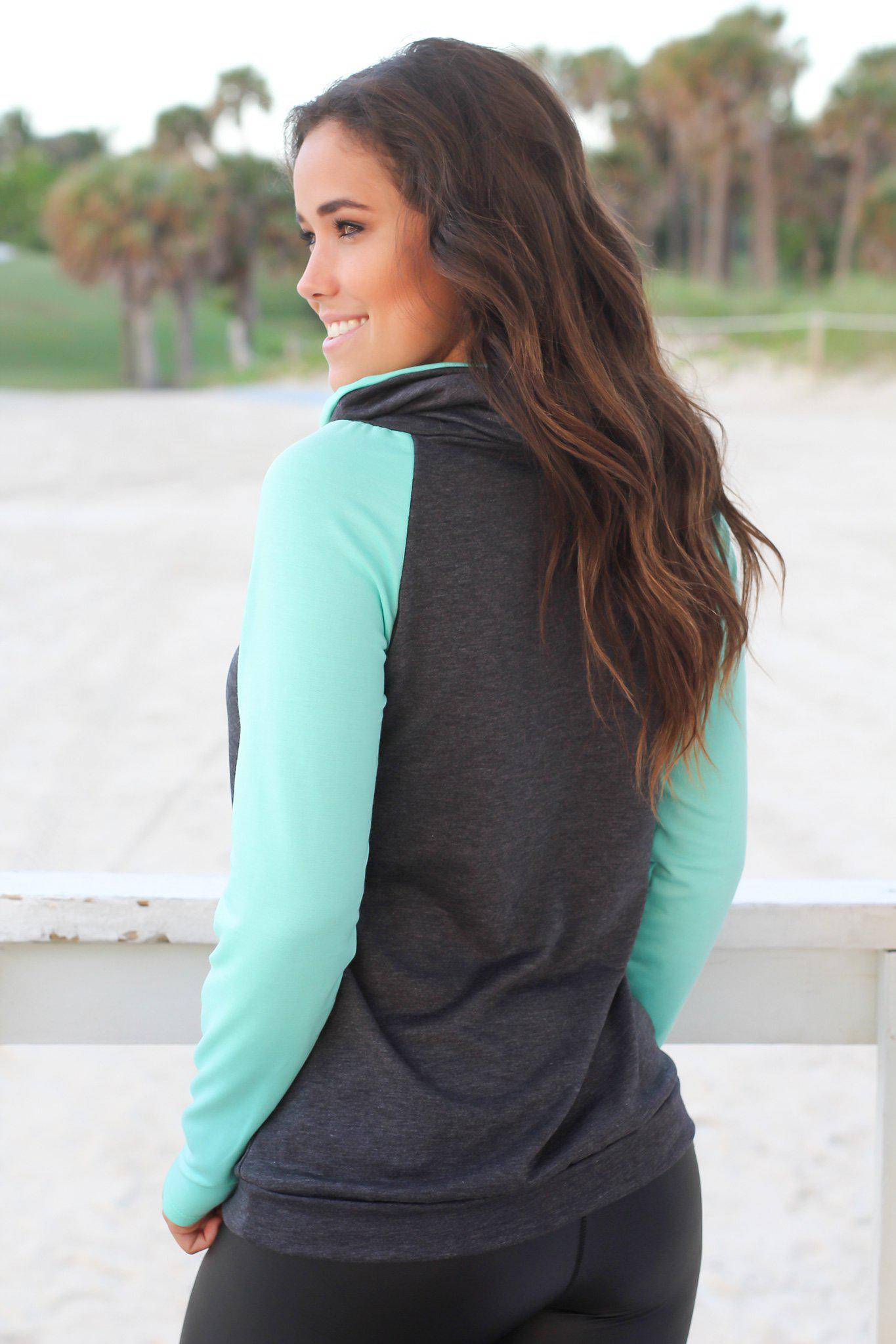 Charcoal and Mint Pullover Sweater