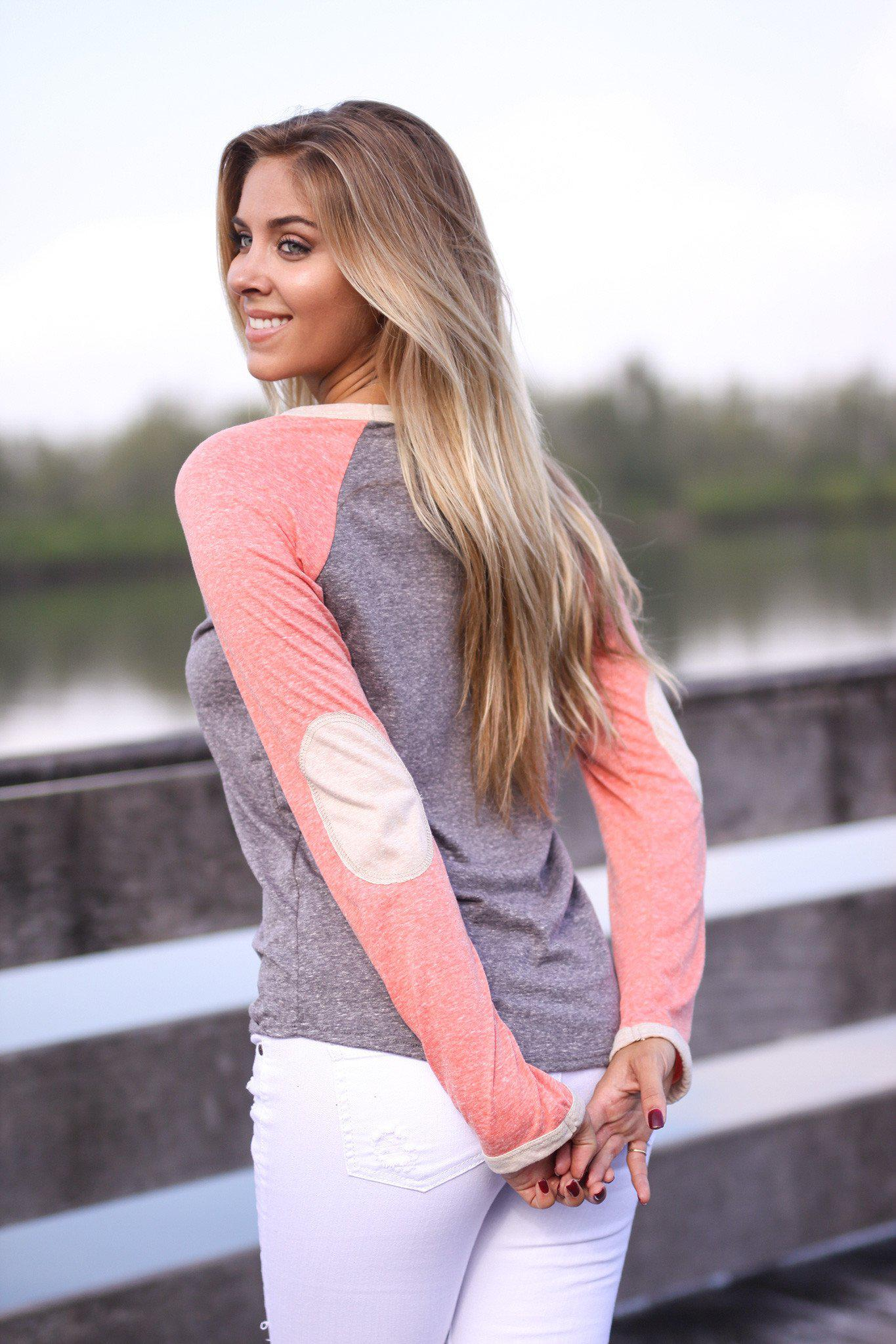 Charcoal and Rust Baseball Tee with Elbow Patches