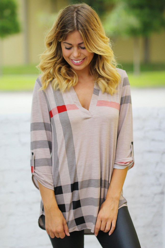 Mocha Check Print 3/4 Sleeve Top