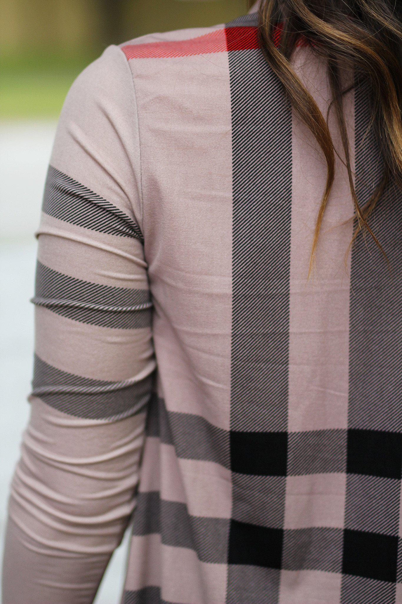 mocha cardigan with check print