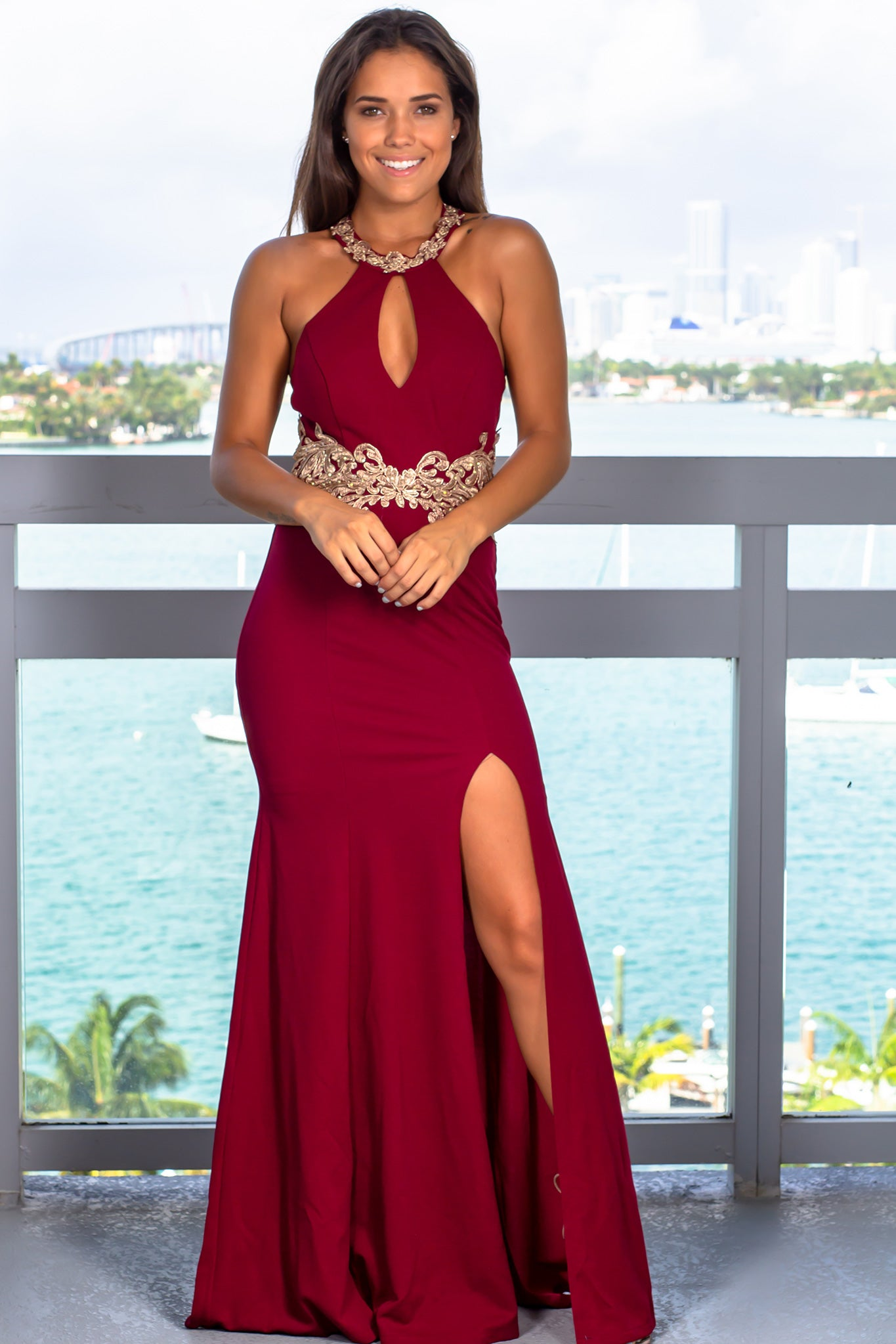 Cherry Halter Neck Maxi Dress with Side Slit