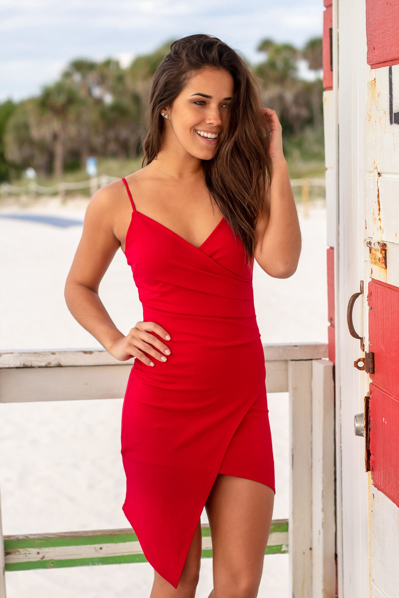 Cherry Red Short Dress with Ruched Side