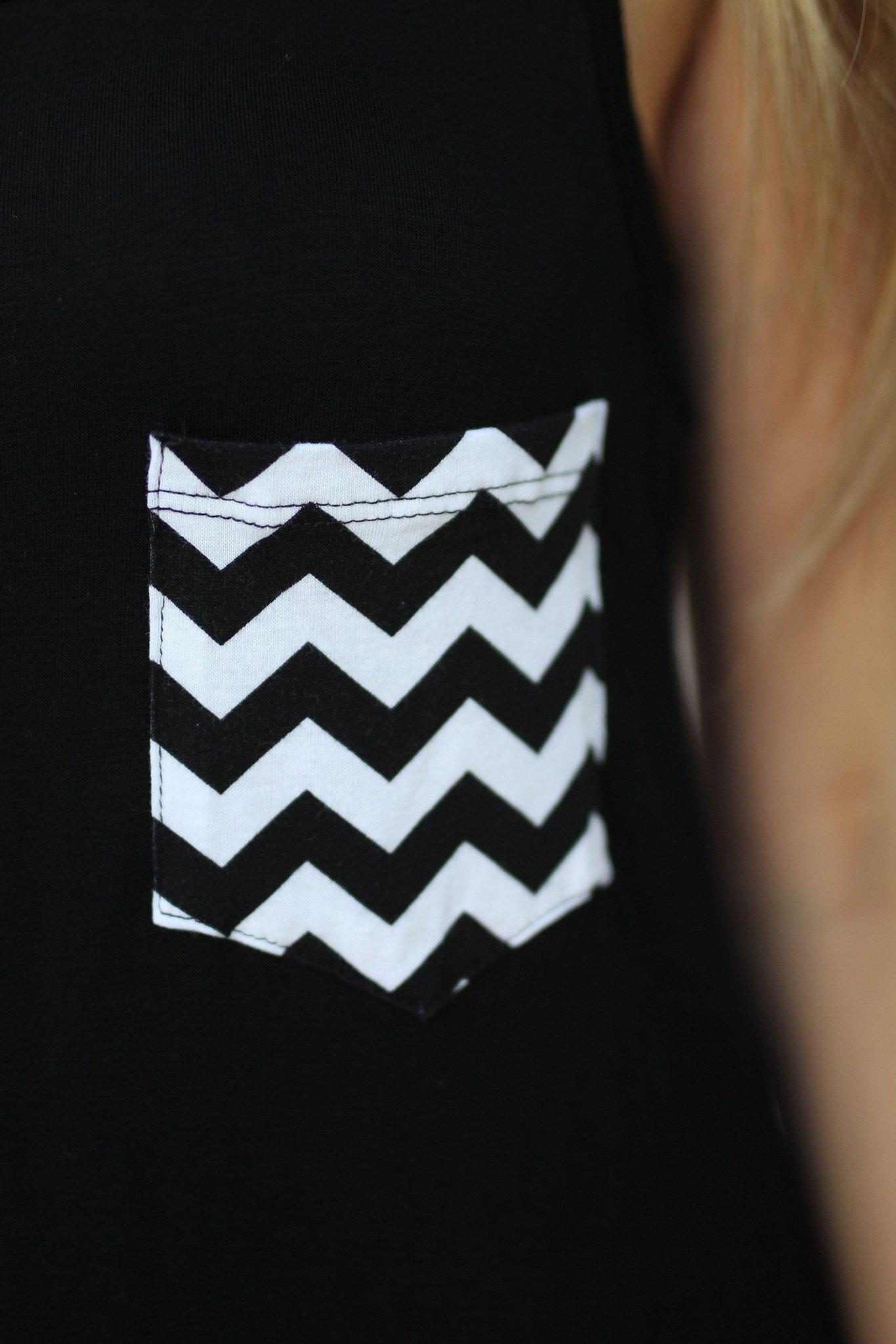 Black Tunic Top With Chevron Pocket