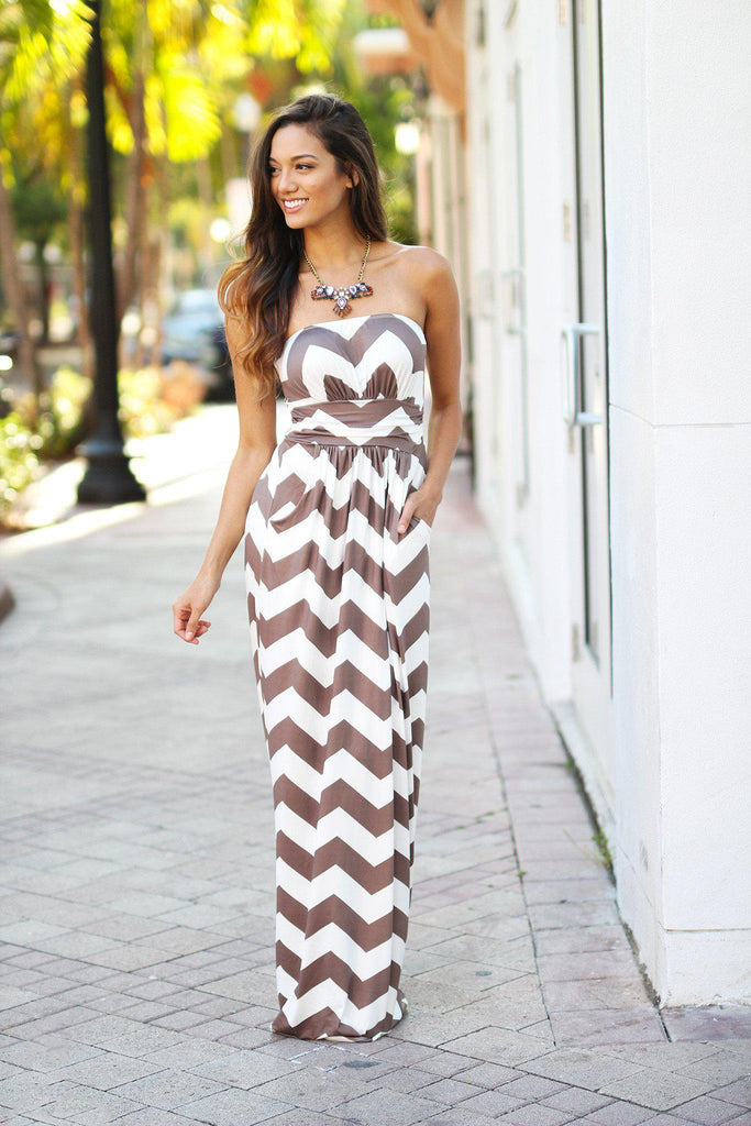 chevron strapless maxi dress