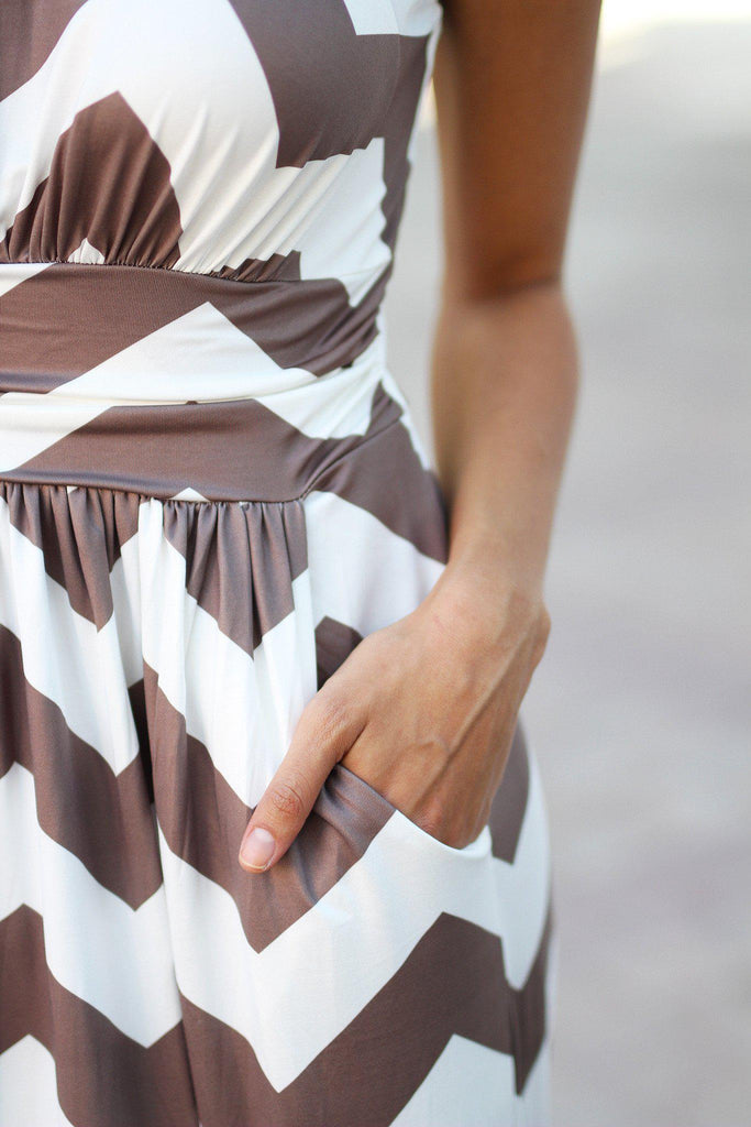mocha and white chevron long dress with pockets