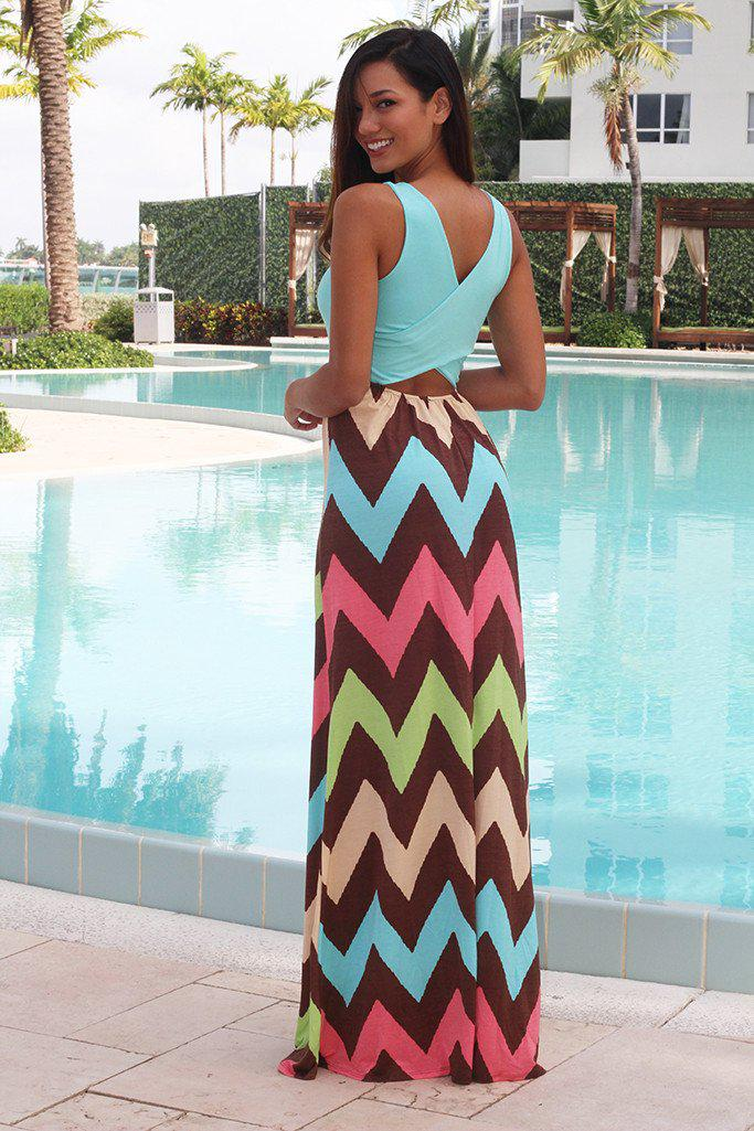 Aqua Chevron Maxi Dress With Criss Cross Back