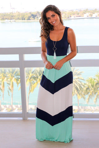 Navy and Mint Chevron Maxi Dress
