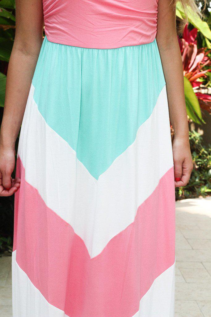 Pink and Mint Chevron Maxi Dress