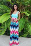 Chevron Maxi Dress with Mint Top