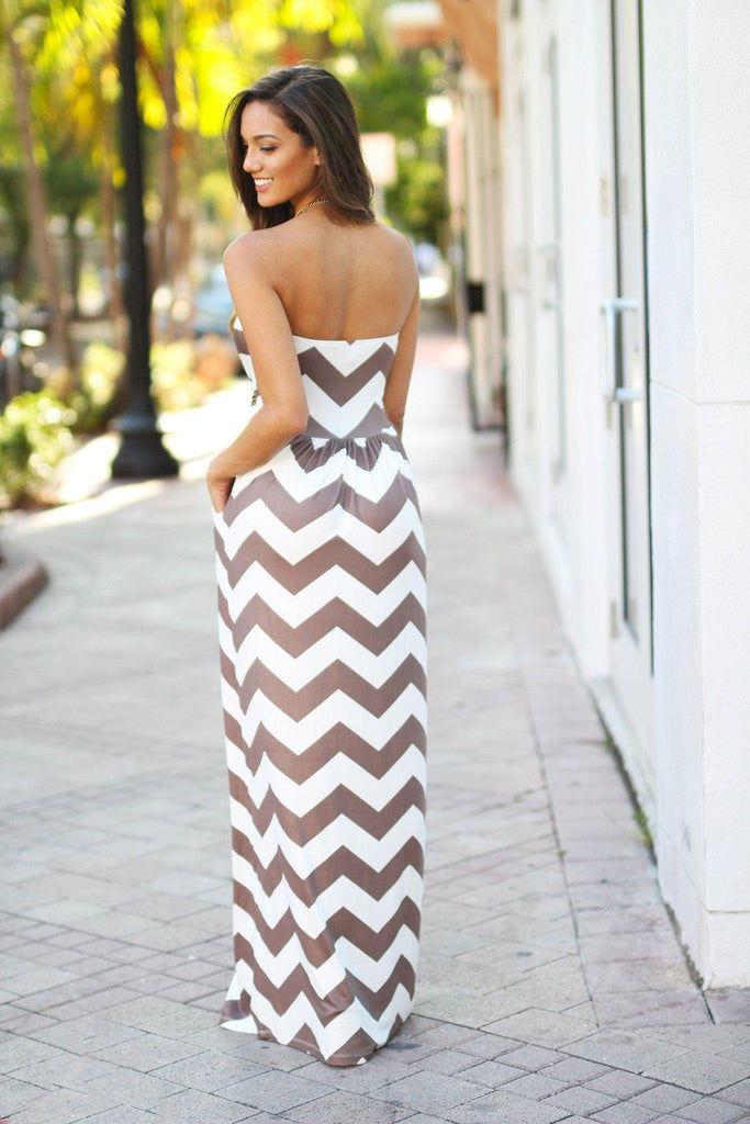mocha and white maxi dress