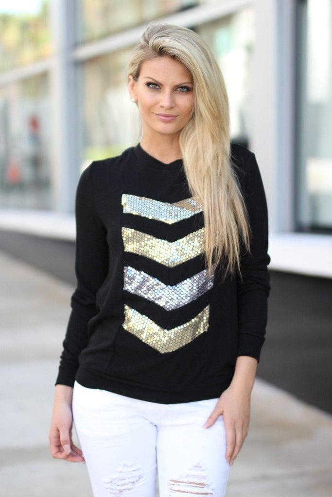 Chevron Sequin Top