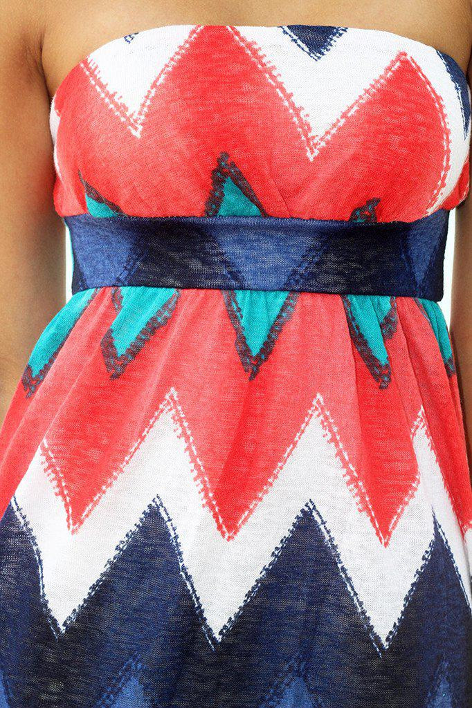 multi color chevron strapless dress
