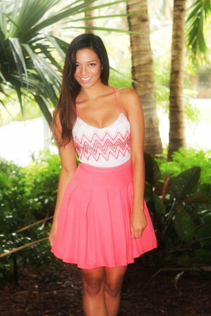 Coral Chevron Top Dress