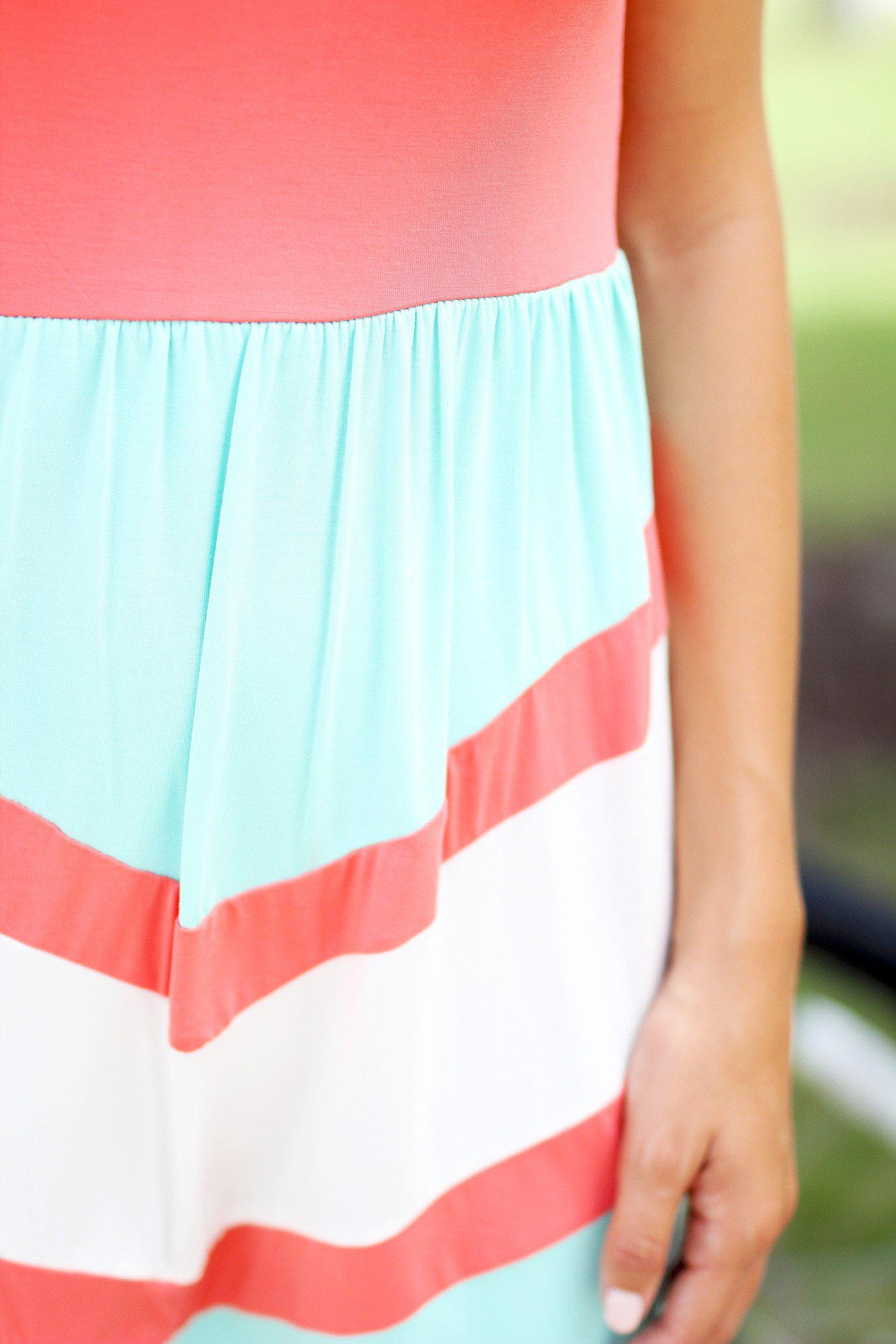 Coral and Mint Chevron Short Dress