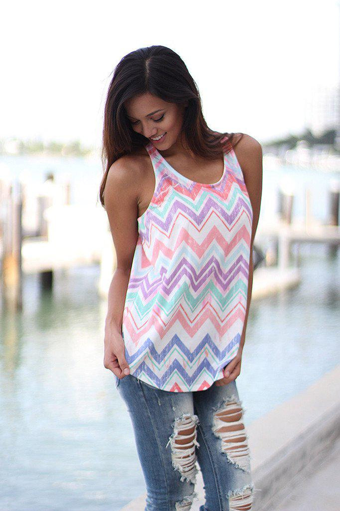 Multicolor Chevron Tank Top