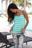 jade chevron tank top with tassels