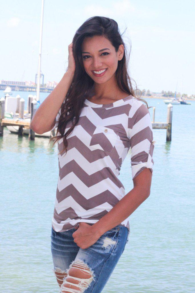 Mocha Chevron Top