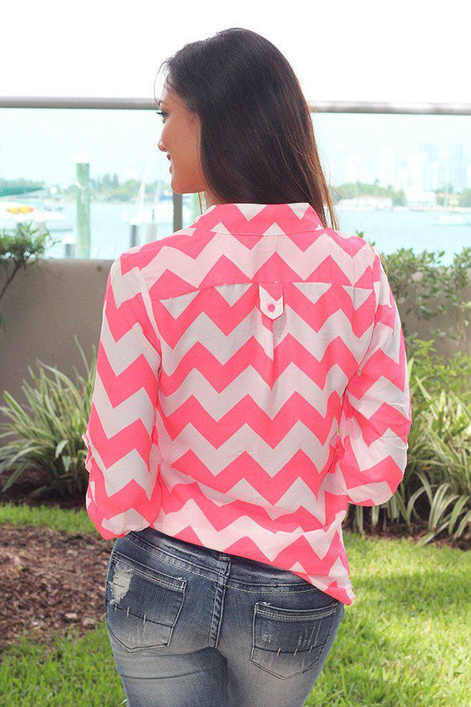 chevron rolled up sleeves top