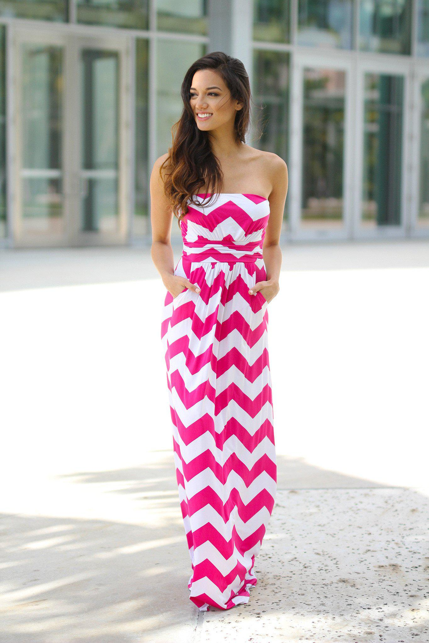 eb6abb06c3 Pink and White Chevron Maxi Dress with Pockets – Saved by the Dress