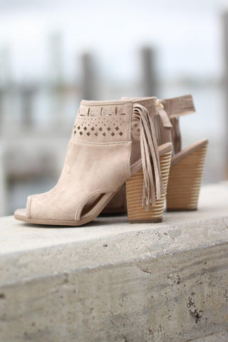 Cream Open Toe Fringe Booties