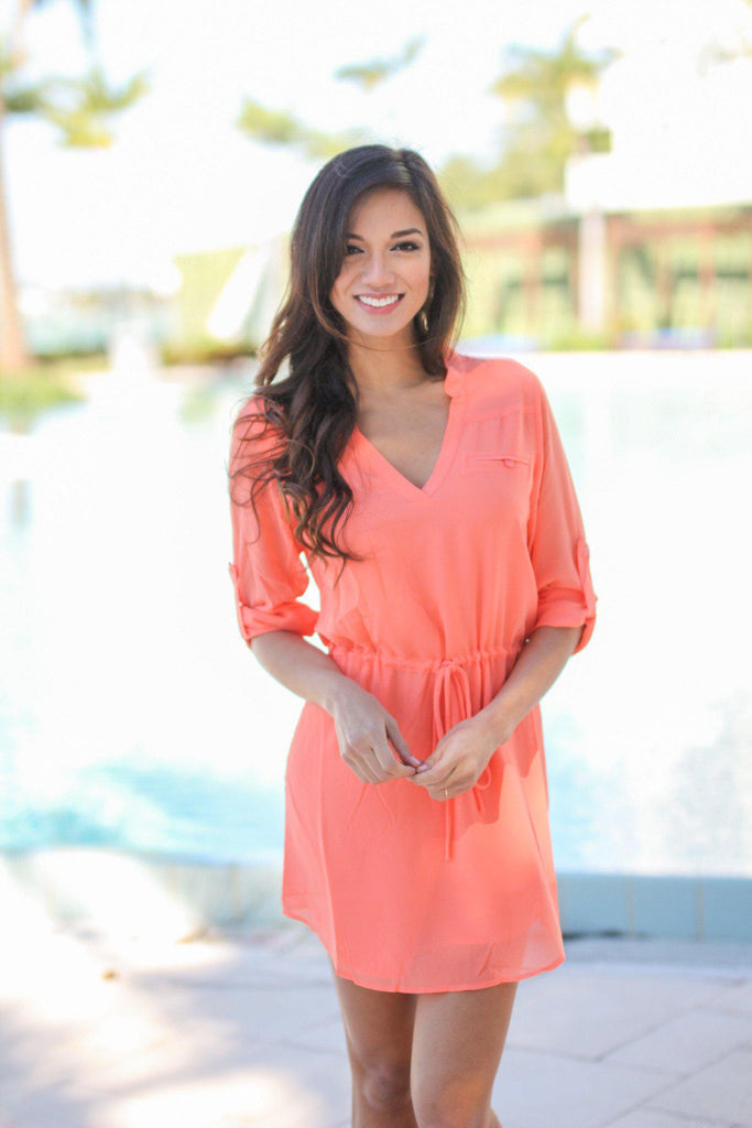 chiffon coral short dress