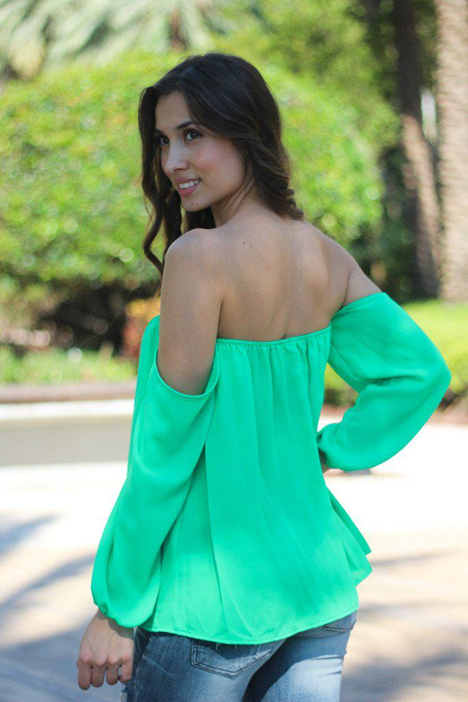 Green Off Shoulder Top