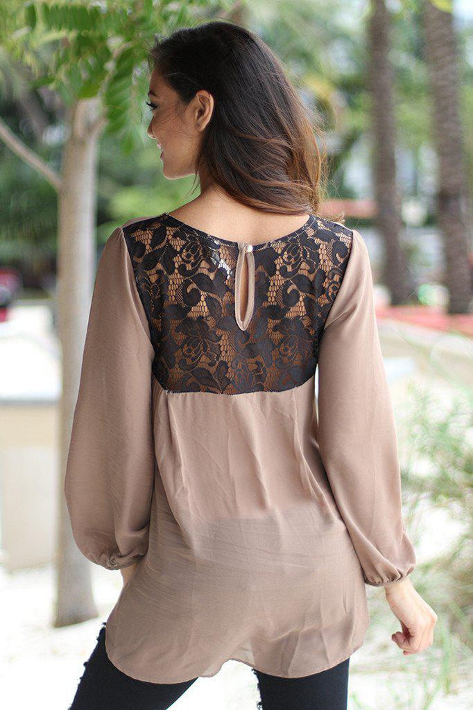 chiffon lace back top