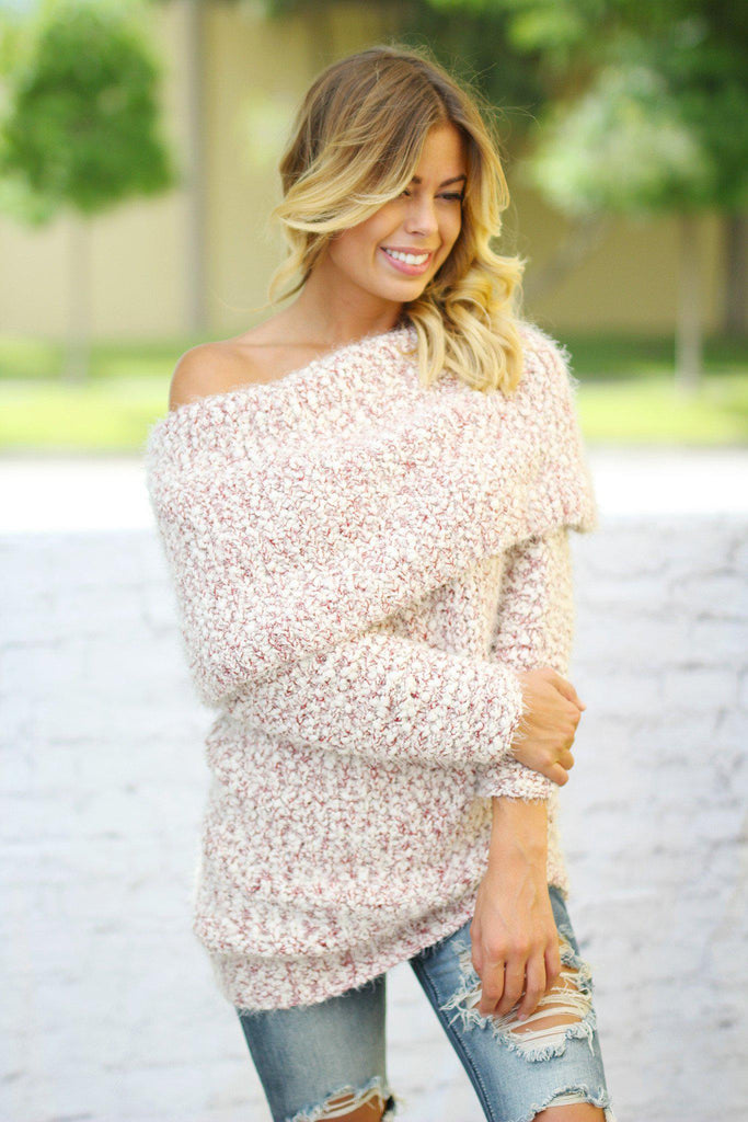 Crimson Plush Chunky Sweater