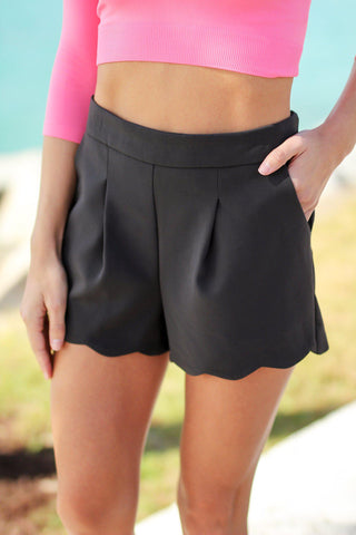 Charcoal Scalloped Shorts